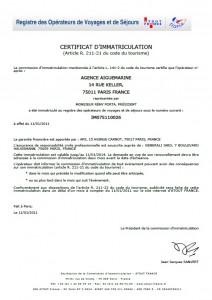 艾格蓝宝法国旅游局经营许可证