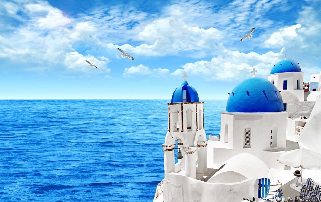 希腊蓝顶教堂